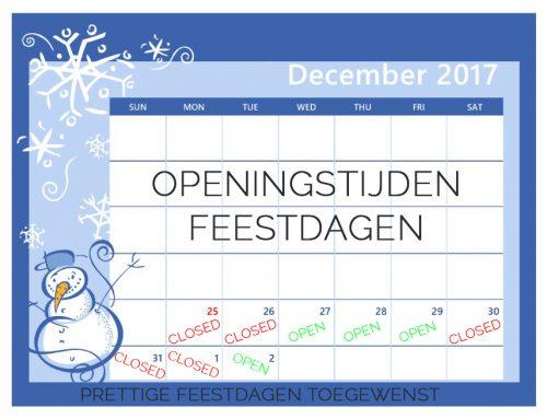 Openingstijden kerst + oud&nieuw