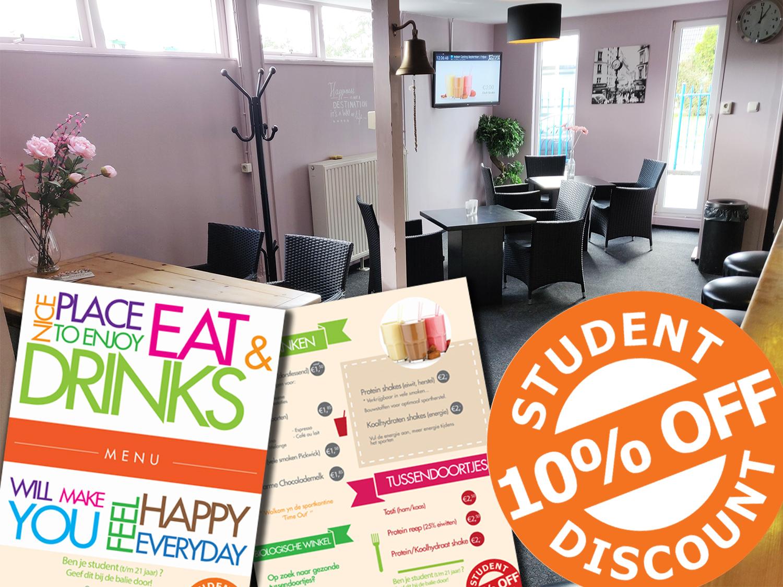 Student 10% discount menukaart