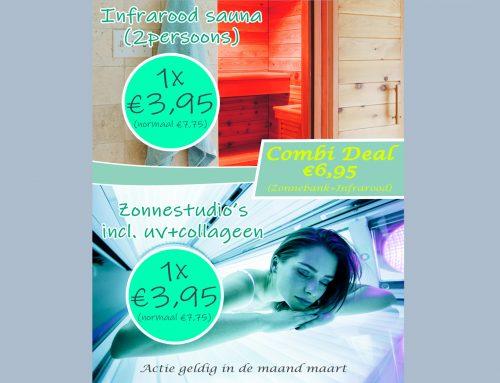 Maart actie; Infrarood Sauna & Zonnebanken nu: 1x voor €3,95 | Combineren? Infrarood+Zonnebank nu €6,95